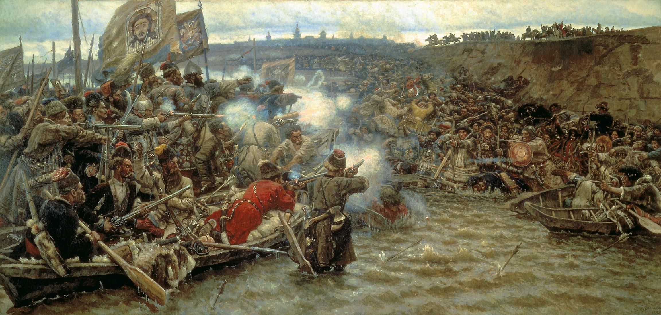 Картина Покорение Сибири Ермаком, Суриков, 1895